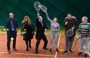 14 December 2017; Minister of State for Disability Issues Finian McGrath T.D., third from left, pictured with, from left, Richard Fahey, Chief Executive Tennis Ireland, Nickie Coffey, President Leinster Tennis, Natalie McGee, David Hall and Noel Hislop, Omni Centre, St Michaels House, during his visit to Sutton Tennis Club and the Enjoy Tennis programme. Tennis Ireland were recently awarded a €28,000 grant to support the Enjoy Tennis Programme, which operates at 65 clubs around the country and involves over 800 participants. Tennis Ireland also recently won best national governing body at the CARA National Inclusion Awards. Photo by Sam Barnes/Sportsfile