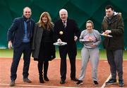 14 December 2017; Minister of State for Disability Issues Finian McGrath T.D., centre, pictured with, from left, Richard Fahey, Chief Executive Tennis Ireland, Nickie Coffey, President Leinster Tennis, Natalie McGee and David Hall, from Omni Centre, St Michaels House, during his visit to Sutton Tennis Club and the Enjoy Tennis programme. Tennis Ireland were recently awarded a €28,000 grant to support the Enjoy Tennis Programme, which operates at 65 clubs around the country and involves over 800 participants. Tennis Ireland also recently won best national governing body at the CARA National Inclusion Awards. Photo by Sam Barnes/Sportsfile