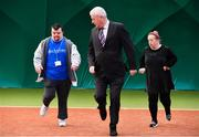 14 December 2017; Minister of State for Disability Issues Finian McGrath T.D., centre, with Noel Brady, left, and Denise Hosford, both of St Michaels House, during his visit to Sutton Tennis Club and the Enjoy Tennis programme. Tennis Ireland were recently awarded a €28,000 grant to support the Enjoy Tennis Programme, which operates at 65 clubs around the country and involves over 800 participants. Tennis Ireland also recently won best national governing body at the CARA National Inclusion Awards. Photo by Sam Barnes/Sportsfile