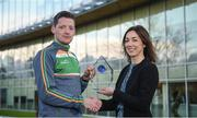 14 December 2017; Conor McManus was presented by EirGrid with the Irish International Rules Player of the Series trophy today. Conor was selected by the public as the Player of the Series for his performances during the teams trip to Australia. As part of the prize, EirGrid donated a cheque for €1,000 to Conor's club, Clontibret O'Neills. Pictured with Conor is Valerie Hedin, External Communications Manager at EirGrid. Photo by Cody Glenn/Sportsfile
