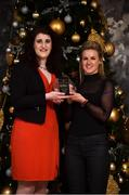 15 December 2017; Fiona McHale, right, of Carnacon is presented with their Player of the Month Award for December by Caroline Millar, Business Development Manager for Corporate at The Croke Park, at The Croke Park Hotel in Dublin. Photo by Matt Browne/Sportsfile