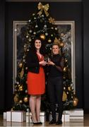 15 December 2017; Fiona McHale, right, of Carnacon is presented with her Player of the Month Award for December by Caroline Millar, Business Development Manager for Corporate at The Croke Park, at The Croke Park Hotel in Dublin. Photo by Matt Browne/Sportsfile