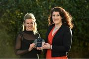 15 December 2017; Fiona McHale, left, of Carnacon is presented with her Player of the Month Award for December by Caroline Millar, Business Development Manager for Corporate at The Croke Park, at The Croke Park Hotel in Dublin. Photo by Matt Browne/Sportsfile