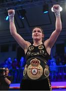 13 December 2017; Katie Taylor celebrates following her WBA Lightweight World Title fight against Jessica McCaskill at York Hall in London, England. Photo by Stephen McCarthy/Sportsfile