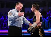 13 December 2017; Referee Howard Foster speaks to Katie Taylor during her WBA Lightweight World Title fight against Jessica McCaskill at York Hall in London, England. Photo by Stephen McCarthy/Sportsfile