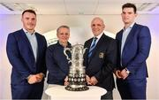 16 December 2017; In attendance at the Bank of Ireland Provincial Towns Cup Draw in Bank of Ireland Ballsbridge branch are, from left, Peter Dooley, Colin Kingston, Bank of Ireland, Niall Rynne, President, Leinster Branch and Tom Daly. The teams going head to head in the Bank of Ireland Provincial Towns Cup were revealed in a draw on Saturday 16th December ahead of the Leinster v Exeter match at the Aviva Stadium. Players Adam Byrne, Tom Daly and Peter Dooley were on hand to announce the first round of the Draw which was streamed via Facebook Live from the Ballsbridge Branch in Dublin to clubs and fans from around the province. Bank of Ireland has proudly partnered with Leinster Rugby since 2007 and recently announced a 5 year extension of their sponsorship through to the 2023 season. The partnership encompasses all Leinster Rugby activity, from the professional team right through to grassroots community, club and schools level. Bank of Ireland Branch in Ballsbridge, Dublin. Photo by Brendan Moran/Sportsfile
