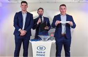 16 December 2017; Peter Dooley, right, draws the name of holders Tullow RFC, in the company of Tom Daly and MC Ger Gilroy at the Bank of Ireland Provincial Towns Cup Draw in Bank of Ireland Ballsbridge branch. The teams going head to head in the Bank of Ireland Provincial Towns Cup were revealed in a draw on Saturday 16th December ahead of the Leinster v Exeter match at the Aviva Stadium. Players Adam Byrne, Tom Daly and Peter Dooley were on hand to announce the first round of the Draw which was streamed via Facebook Live from the Ballsbridge Branch in Dublin to clubs and fans from around the province. Bank of Ireland has proudly partnered with Leinster Rugby since 2007 and recently announced a 5 year extension of their sponsorship through to the 2023 season. The partnership encompasses all Leinster Rugby activity, from the professional team right through to grassroots community, club and schools level. Bank of Ireland Branch in Ballsbridge, Dublin. Photo by Brendan Moran/Sportsfile