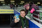 16 December 2017; Leinster supporter Jennifer Malone, from Clane, Co. Kildare, with former Leinster and Ireland centre Brian O'Driscoll ahead of the European Rugby Champions Cup Pool 3 Round 4 match between Leinster and Exeter Chiefs at the Aviva Stadium in Dublin. Photo by Ramsey Cardy/Sportsfile