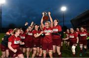 16 December 2017; Siobhan Fleming of Munster lifting the cup after the Women's Interprovincial Rugby match between Munster and Leinster at Thomond Park in Limerick. Photo by Eóin Noonan/Sportsfile