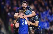 16 December 2017; James Ryan of Leinster celebrates with team-mates Dan Leavy, Scott Fardy and try scorer Luke McGrath after their side's first try during the European Rugby Champions Cup Pool 3 Round 4 match between Leinster and Exeter Chiefs at the Aviva Stadium in Dublin. Photo by Brendan Moran/Sportsfile