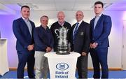 16 December 2017; In attendance at the Bank of Ireland Provincial Towns Cup Draw in Bank of Ireland Ballsbridge branch are, from left, Peter Dooley, Colin Kingston, Bank of Ireland, Bill Duggan, Tournament Director, Niall Rynne, President, Leinster Branch and Tom Daly. The teams going head to head in the Bank of Ireland Provincial Towns Cup were revealed in a draw on Saturday 16th December ahead of the Leinster v Exeter match at the Aviva Stadium. Players Adam Byrne, Tom Daly and Peter Dooley were on hand to announce the first round of the Draw which was streamed via Facebook Live from the Ballsbridge Branch in Dublin to clubs and fans from around the province. Bank of Ireland has proudly partnered with Leinster Rugby since 2007 and recently announced a 5 year extension of their sponsorship through to the 2023 season. The partnership encompasses all Leinster Rugby activity, from the professional team right through to grassroots community, club and schools level. Bank of Ireland Branch in Ballsbridge, Dublin. Photo by Brendan Moran/Sportsfile