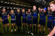 16 December 2017; Leinster players, from left, Jack McGrath, Jordan Larmour, Cian Healy, Garry Ringrose, Isa Nacewa, Dan Leavy, Robbie Henshaw, Fergus McFadden and James Tracy following their victory in the European Rugby Champions Cup Pool 3 Round 4 match between Leinster and Exeter Chiefs at the Aviva Stadium in Dublin. Photo by Ramsey Cardy/Sportsfile