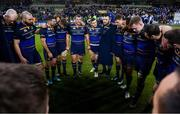 16 December 2017; Leinster players, from left, Devin Toner, Scott Fardy, Rob Kearney, Sean O'Brien, Jack McGrath, Jordan Larmour, Cian Healy, Garry Ringrose, Isa Nacewa, Dan Leavy and Robbie Henshaw following their victory in the European Rugby Champions Cup Pool 3 Round 4 match between Leinster and Exeter Chiefs at the Aviva Stadium in Dublin. Photo by Ramsey Cardy/Sportsfile