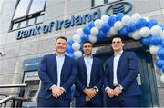 16 December 2017; Leinster players, from left, Peter Dooley, Adam Byrne, and Tom Daly in attendance at the Bank of Ireland Provincial Towns Cup Draw in Bank of Ireland Ballsbridge branch. The teams going head to head in the Bank of Ireland Provincial Towns Cup were revealed in a draw on Saturday 16th December ahead of the Leinster v Exeter match at the Aviva Stadium. Players Adam Byrne, Tom Daly and Peter Dooley were on hand to announce the first round of the Draw which was streamed via Facebook Live from the Ballsbridge Branch in Dublin to clubs and fans from around the province. Bank of Ireland has proudly partnered with Leinster Rugby since 2007 and recently announced a 5 year extension of their sponsorship through to the 2023 season. The partnership encompasses all Leinster Rugby activity, from the professional team right through to grassroots community, club and schools level. Bank of Ireland Branch in Ballsbridge, Dublin. Photo by Brendan Moran/Sportsfile