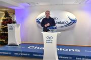 16 December 2017; Colin Kingston, Bank of Ireland, speaking at the Bank of Ireland Provincial Towns Cup Draw in Bank of Ireland Ballsbridge branch. The teams going head to head in the Bank of Ireland Provincial Towns Cup were revealed in a draw on Saturday 16th December ahead of the Leinster v Exeter match at the Aviva Stadium. Players Adam Byrne, Tom Daly and Peter Dooley were on hand to announce the first round of the Draw which was streamed via Facebook Live from the Ballsbridge Branch in Dublin to clubs and fans from around the province. Bank of Ireland has proudly partnered with Leinster Rugby since 2007 and recently announced a 5 year extension of their sponsorship through to the 2023 season. The partnership encompasses all Leinster Rugby activity, from the professional team right through to grassroots community, club and schools level. Bank of Ireland Branch in Ballsbridge, Dublin. Photo by Brendan Moran/Sportsfile