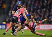 16 December 2017; Garry Ringrose of Leinster is tackled by Sam Simmonds, left, and Jack Nowell of Exeter Chiefs during the European Rugby Champions Cup Pool 3 Round 4 match between Leinster and Exeter Chiefs at the Aviva Stadium in Dublin. Photo by Brendan Moran/Sportsfile