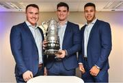 16 December 2017; In attendance at the Bank of Ireland Provincial Towns Cup Draw in Bank of Ireland Ballsbridge branch are Leinster players, from left, Peter Dooley, Tom Daly and Adam Byrne. The teams going head to head in the Bank of Ireland Provincial Towns Cup were revealed in a draw on Saturday 16th December ahead of the Leinster v Exeter match at the Aviva Stadium. Players Adam Byrne, Tom Daly and Peter Dooley were on hand to announce the first round of the Draw which was streamed via Facebook Live from the Ballsbridge Branch in Dublin to clubs and fans from around the province. Bank of Ireland has proudly partnered with Leinster Rugby since 2007 and recently announced a 5 year extension of their sponsorship through to the 2023 season. The partnership encompasses all Leinster Rugby activity, from the professional team right through to grassroots community, club and schools level. Bank of Ireland Branch in Ballsbridge, Dublin. Photo by Brendan Moran/Sportsfile