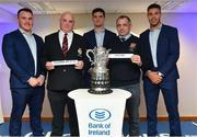 16 December 2017; In attendance at the Bank of Ireland Provincial Towns Cup Draw in Bank of Ireland Ballsbridge branch are, from left, Peter Dooley, Ciaran Lynch, Tullamore RFC 2nds, Offaly, Tom Daly, Ger Brennan, Athy RFC, Kildare, and Adam Byrne. The teams going head to head in the Bank of Ireland Provincial Towns Cup were revealed in a draw on Saturday 16th December ahead of the Leinster v Exeter match at the Aviva Stadium. Players Adam Byrne, Tom Daly and Peter Dooley were on hand to announce the first round of the Draw which was streamed via Facebook Live from the Ballsbridge Branch in Dublin to clubs and fans from around the province. Bank of Ireland has proudly partnered with Leinster Rugby since 2007 and recently announced a 5 year extension of their sponsorship through to the 2023 season. The partnership encompasses all Leinster Rugby activity, from the professional team right through to grassroots community, club and schools level. Bank of Ireland Branch in Ballsbridge, Dublin. Photo by Brendan Moran/Sportsfile