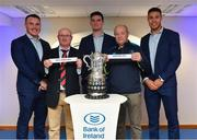 16 December 2017; In attendance at the Bank of Ireland Provincial Towns Cup Draw in Bank of Ireland Ballsbridge branch are, from left, Peter Dooley, Robert Doyle, Cill Dara RFC, Kildare, Tom Daly, Patrick Curran, Roscrea RFC, Offaly, and Adam Byrne. The teams going head to head in the Bank of Ireland Provincial Towns Cup were revealed in a draw on Saturday 16th December ahead of the Leinster v Exeter match at the Aviva Stadium. Players Adam Byrne, Tom Daly and Peter Dooley were on hand to announce the first round of the Draw which was streamed via Facebook Live from the Ballsbridge Branch in Dublin to clubs and fans from around the province. Bank of Ireland has proudly partnered with Leinster Rugby since 2007 and recently announced a 5 year extension of their sponsorship through to the 2023 season. The partnership encompasses all Leinster Rugby activity, from the professional team right through to grassroots community, club and schools level. Bank of Ireland Branch in Ballsbridge, Dublin. Photo by Brendan Moran/Sportsfile