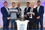 16 December 2017; In attendance at the Bank of Ireland Provincial Towns Cup Draw in Bank of Ireland Ballsbridge branch are, from left, Peter Dooley, Robbie Jenkinson, Skerries RFC 2nds, Dublin, Vincent Milroy, Bank of Ireland, Tom Daly, Ollie Delaney, Newbridge RFC, Kildare, and Adam Byrne. The teams going head to head in the Bank of Ireland Provincial Towns Cup were revealed in a draw on Saturday 16th December ahead of the Leinster v Exeter match at the Aviva Stadium. Players Adam Byrne, Tom Daly and Peter Dooley were on hand to announce the first round of the Draw which was streamed via Facebook Live from the Ballsbridge Branch in Dublin to clubs and fans from around the province. Bank of Ireland has proudly partnered with Leinster Rugby since 2007 and recently announced a 5 year extension of their sponsorship through to the 2023 season. The partnership encompasses all Leinster Rugby activity, from the professional team right through to grassroots community, club and schools level. Bank of Ireland Branch in Ballsbridge, Dublin. Photo by Brendan Moran/Sportsfile