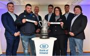 16 December 2017; In attendance at the Bank of Ireland Provincial Towns Cup Draw in Bank of Ireland Ballsbridge branch are, from left, Peter Dooley, Shane Roche, New Ross RFC, Wexford, Vincent Milroy, Bank of Ireland, Tom Daly, Mamie Quirke, Arklow RFC, Wicklow, Adam Byrne and Shane Byrne. The teams going head to head in the Bank of Ireland Provincial Towns Cup were revealed in a draw on Saturday 16th December ahead of the Leinster v Exeter match at the Aviva Stadium. Players Adam Byrne, Tom Daly and Peter Dooley were on hand to announce the first round of the Draw which was streamed via Facebook Live from the Ballsbridge Branch in Dublin to clubs and fans from around the province. Bank of Ireland has proudly partnered with Leinster Rugby since 2007 and recently announced a 5 year extension of their sponsorship through to the 2023 season. The partnership encompasses all Leinster Rugby activity, from the professional team right through to grassroots community, club and schools level. Bank of Ireland Branch in Ballsbridge, Dublin. Photo by Brendan Moran/Sportsfile