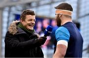 16 December 2017; BT Sport analyst Brian O'Driscoll interviews Sean O'Brien of Leinster ahead of the European Rugby Champions Cup Pool 3 Round 4 match between Leinster and Exeter Chiefs at the Aviva Stadium in Dublin. Photo by Ramsey Cardy/Sportsfile