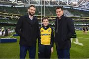 16 December 2017; Josh Twiddy of Clondalkin RFC with Leinster's Barry Daly and Noel Reid prior to the Bank of Ireland Half-Time Minis at the European Rugby Champions Cup Pool 3 Round 4 match between Leinster and Exeter Chiefs at the Aviva Stadium in Dublin. Photo by Stephen McCarthy/Sportsfile