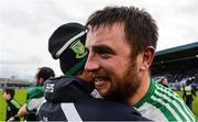 17 December 2017; Moorefield captain Daryl Flynn celebrates with a supporter after the AIB Leinster GAA Football Senior Club Championship Final match between Moorefield and St Loman's at O'Moore Park in Portlaoise, Co Laois. Photo by Piaras Ó Mídheach/Sportsfile