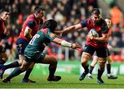17 December 2017; Jean Kleyn of Munster is tackled by Tatafu Polota-Nau of Leicester Tigers during the European Rugby Champions Cup Pool 4 Round 4 match between Leicester Tigers and Munster at Welford Road in Leicester, England. Photo by Brendan Moran/Sportsfile