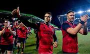 17 December 2017; Conor Murray, centre, and Jean Kleyn of Munster celebrate after the European Rugby Champions Cup Pool 4 Round 4 match between Leicester Tigers and Munster at Welford Road in Leicester, England. Photo by Brendan Moran/Sportsfile