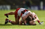 1 July 2017; Emmett McGuckin of Derry and Diamuid O'Connor of Mayo tussle during the GAA Football All-Ireland Senior Championship Round 2A match between Mayo and Derry at Elverys MacHale Park, in Castlebar, Co Mayo. Photo by David Maher/Sportsfile