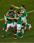 6 October 2017; Daryl Murphy, left, of Republic of Ireland celebrates with team-mates after scoring their side's first goal during the FIFA World Cup Qualifier Group D match between Republic of Ireland and Moldova at Aviva Stadium in Dublin. Photo by Brendan Moran/Sportsfile