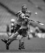 13 April 2017; (EDITOR'S NOTE: Image has been converted to black & white) Jody Canning, nephew of Galway senior hurler Joe Canning, representing Portumna GAA Club, Co. Galway, during the Go Games Provincial Days in partnership with Littlewoods Ireland Day 4 at Croke Park in Dublin. Photo by Seb Daly/Sportsfile