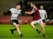 28 October 2017; Conor Meyler of Omagh St Enda's in action against Padraig Cassidy of Slaughtneil during the AIB Ulster GAA Football Senior Club Championship Quarter-Final match between Slaughtneil and Omagh St Enda's at Celtic Park in Derry. Photo by Oliver McVeigh/Sportsfile