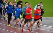 24 December 2017; Dublin Gaelic Football stars Jonny Cooper and Eoin Murchan, right, with fellow Na Fianna club members during a Goal Mile 2017 at Morton Stadium in Dublin. Photo by Ray McManus/Sportsfile