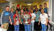 25 December 2017; Dublin manager Jim Gavin, captain Stephen Cluxton, Brian Fenton, Jack McCaffrey, Cormac Costello, Michael Fitzsimons with members of staff on the Hamilton Ward with the Sam Maguire Cup during the Dublin Football team visit to Beaumont Hospital in Dublin. Photo by Ray McManus/Sportsfile