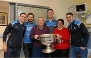 25 December 2017; Dublin captain Stephen Cluxton, Jack McCaffrey, Brian Fenton and Cormac Costellowith patient Vincent Callaghan, from Finabans, Co Donegal, and his wife Patricia, herself a former Mayor of Donegal Town, and the Sam Maguire Cup during the Dublin Football team visit to Beaumont Hospital in Dublin. Photo by Ray McManus/Sportsfile