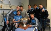 25 December 2017; Selector Shane O'Hanlon, captain Stephen Cluxton, Jack McCaffrey, Brian Fenton, Cormac Costello, Michael Fitzsimons, with patient Tim Doyle, from Laune Rangers GAA and Clontarf, Dublin, and the Sam Maguire during the Dublin Football team visit to Beaumont Hospital in Dublin. Photo by Ray McManus/Sportsfile