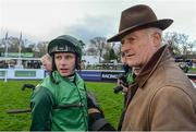 26 December 2017; Paul Townend with trainer Willie Mullins after winning the Racing Post Novice Steeplechase with Footpad, on day 1 of the Leopardstown Christmas Festival at Leopardstown in Dublin. Photo by Matt Browne/Sportsfile