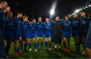 26 December 2017; The Leinster team, from left, Ed Byrne, Rory O'Loughlin, Jordan Larmour, Ross Byrne, James Tracy, Nick McCarthy, Josh van der Flier, Cathal Marsh, Jack McGrath, James Lowe, Jack Conan and Barry Daly huddle following the Guinness PRO14 Round 11 match between Munster and Leinster at Thomond Park in Limerick. Photo by Ramsey Cardy/Sportsfile