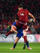26 December 2017; Jean Kleyn of Munster is tackled by Noel Reid of Leinster during the Guinness PRO14 Round 11 match between Munster and Leinster at Thomond Park in Limerick. Photo by Ramsey Cardy/Sportsfile