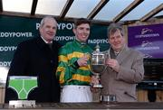 27 December 2017; Jockey Donagh Meyler, owner J.P. McManus and trainer Tony Martin with the Paddy Power Steeplechase trophy after Anibale Fly won the Paddy Power Steeplechase (Grade B) on day 2 of the Leopardstown Christmas Festival at Leopardstown in Dublin. Photo by Barry Cregg/Sportsfile