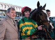 27 December 2017; Jockey Donagh Meyler with owner J.P. McManus and Anibale Fly after winning the Paddy Power Steeplechase (Grade B) on day 2 of the Leopardstown Christmas Festival at Leopardstown in Dublin. Photo by Barry Cregg/Sportsfile