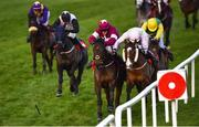 28 December 2017; Hardback, with Shane Shortall up, centre, loses his whip as he races ahead to win the Irish Daily Star Christmas Novice Handicap Hurdle on day 3 of the Leopardstown Christmas Festival at Leopardstown in Dublin. Photo by David Fitzgerald/Sportsfile