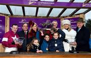 28 December 2017; Winning connections on the podium, including Michael O'Leary and wife Anita, with jockey Sean Flanagan, left, and trainer Noel Meade, after winning the Leopardstown Christmas Steeplechase with Road To Respect during day 3 of the Leopardstown Christmas Festival at Leopardstown in Dublin. Photo by Seb Daly/Sportsfile