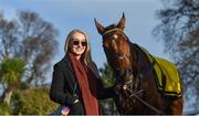 29 December 2017; Suzanne Connell from Foxrock, Co Dublin, pictured with her horse Deputy's Pass in the stable ahead of the Adare Manor Opportunity Handicap Steeplechase on day 4 of the Leopardstown Christmas Festival at Leopardstown in Dublin. Photo by David Fitzgerald/Sportsfile