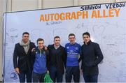 1 January 2018;  Adam Byrne, Jordan Larmour and Joey Carbery Leinster pose for a photograph with fans at Autograph Alley at  the Guinness PRO14 Round 12 match between Leinster and Connacht at the RDS Arena in Dublin. Photo by Eóin Noonan/Sportsfile