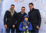 1 January 2018;  Adam Byrne, Jordan Larmour and Joey Carbery Leinster pose for a photograph with a fan at Autograph Alley at  the Guinness PRO14 Round 12 match between Leinster and Connacht at the RDS Arena in Dublin. Photo by Eóin Noonan/Sportsfile
