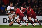 1 January 2018; Charles Piutau of Ulster is tackled behind his own try line by JJ Hanrahan of Munster during the Guinness PRO14 Round 12 match between Ulster and Munster at Kingspan Stadium in Belfast. Photo by David Fitzgerald/Sportsfile