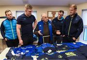 """4 January 2018; Leinster Rugby and Canterbury of New Zealand visited the Capuchin Day Centre for the homeless in Dublin city centre today to drop off warm clothing ahead of the expected cold snap in the coming weeks. Sean Kavanagh, Global Head of Sports Marketing and Sponsorship with Canterbury said, """"In partnership with Leinster Rugby we saw an opportunity to donate kit not already used by the team to a worthwhile cause. Br. Kevin and the volunteers in the Capuchin Day Centre are doing great work for the homeless of Dublin and we are delighted to be able to contribute in a small way to what is a big issue for society as a whole."""" Leinster and Ireland Rugby player Dan Leavy added, """"Rugby Players' Ireland have provided a number of opportunities for Leinster players over the last few months to volunteer in Dublin city centre with the homeless and this initiative by Canterbury and Leinster Rugby was another opportunity that the players were keen to get behind. Br. Kevin and his staff in the Capuchin Day Centre have been doing great work for years and hopefully this small gesture will help towards their endeavours."""" Br. Kevin Crowley, founder and CEO of the Capuchin Day Centre, said,"""" Homelessness in Ireland is still at crisis point and we need to keep that front of mind. It's a great boost to us all here today to have Leinster Rugby visit and keep the issue in the public domain this winter.""""  Leinster Rugby also donated a signed jersey and match tickets to help with the fundraising efforts over the coming weeks. For further information or to donate to the Capuchin Day Centre please visit capuchindaycentre.ie during a Leinster Rugby visit to the Capuchin Day Centre in Dublin. Pictured at the visit with Br. Kevin Crowley are Leinster players, from left, Bryan Byrne, Dan Leavy, Ed Byrne and Peadar Timmins. Photo by Brendan Moran/Sportsfile"""